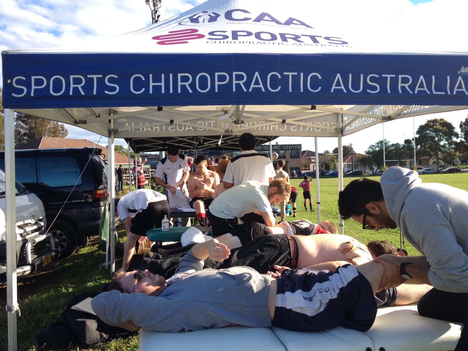 Chiropractic interns treating Macquarie University Rugby players